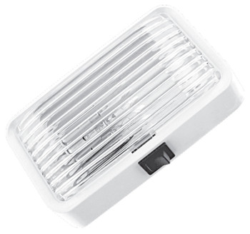 ECO Series 1P-PS100-C Standard RV Exterior Porch / Utility Light w/ Switch - White - Incandescent