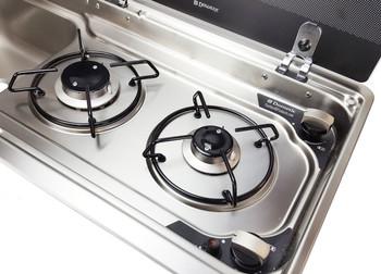 Dometic UK MO9722LUS Slim 2-Burner Hob / Sink Combination with Glass Lids