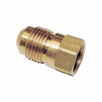 "AMC 704046-0604 Brass Half Union Coupling 3/8"" Flare x 1/4"" FPT"