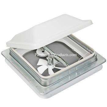 Ventline V2094SP-30 Manual Lift RV Trailer Roof Vent w/ 12V DC Fan - White