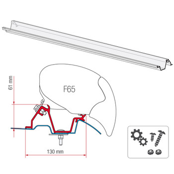 """Fiamma® 98655-768 F65 Eagle Awning Mounting Bracket - Mercedes Sprinter 170"""" W.B. Extended"""