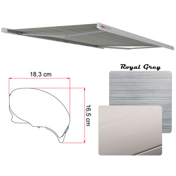 "Fiamma 06693C01R Electric F65 Eagle Case Awning 4.0m (13'9"") - Titanium Case - Royal Grey Fabric"