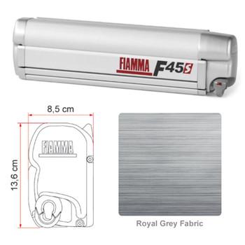 "Fiamma 06290H01R F45S Awning 2.6m (8'8"") - Titanium Finish Case - Royal Grey Fabric"