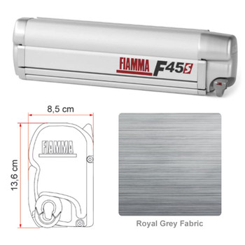 """Fiamma 06290C01R F45S Awning 4.0m (13'1"""") - Titanium Finish Case - Royal Grey Fabric"""
