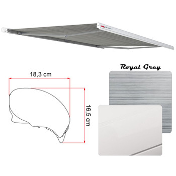 "Fiamma 07755F01R Electric F65 Eagle Case Awning 319 (10'6"") - White Case - Royal Grey Fabric"