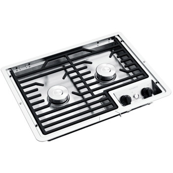 Dometic™ D21-SEC (50216) RV 2-Burner Propane Cooktop - Stainless Steel - Cast Iron Grate