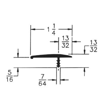 "105-544-125-25 Plywood Edge Plastic Trim T Molding - 1-1/4"" - Grey 25 FT"