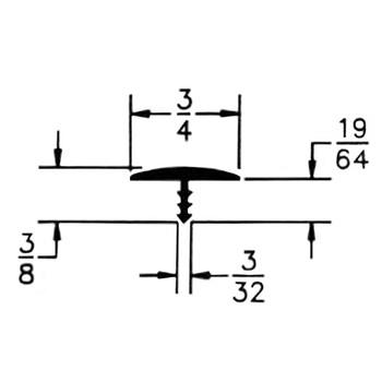"105-679-125-25 Plywood Edge Plastic Trim T Molding - 3/4"" - Grey - 25 Feet"