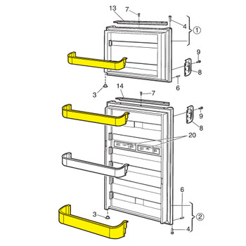 Dometic™ Americana 29325760166 OEM Refrigerator Door Shelves - Set of 3