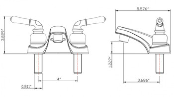 Dura PL700C-SN Classical Two Handle RV Lavatory Faucet SN