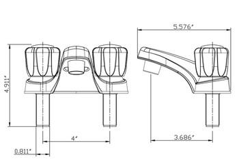Dura PL700S-BQ Two Handle RV Lavatory Faucet Bisque