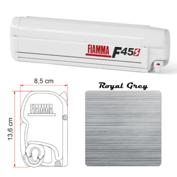 """Fiamma 06280G01R RV F45S Wall Mounted Patio Awning - 4.5m (13'10"""") - White Case"""