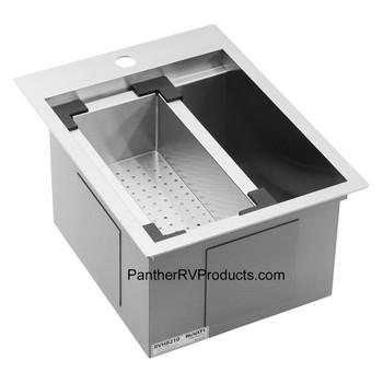 Ruvati RVH8210 Workstation Drop-in Topmount Bar Prep RV Sink - 16 Guage Stainless Steel