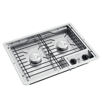 Dometic™ D21-SPW (50214) RV 2-Burner Propane Cooktop - Stainless Steel - Wire Grate