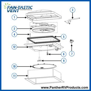 Dometic™ Fantastic 802250 RV Roof Vent Parts Breakdown