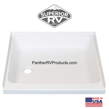 "Superior RV 2323SP 23"" x 23"" Shower Pan / Tray – Left Drain"