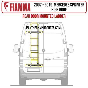 Fiamma® 02426A19A Mercedes Sprinter Door Mounted Ladder - Black