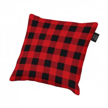 Kuma Outdoors 858-RP Square Plaid Fleece Camping Pillow - Black/Red