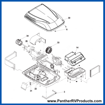 Dometic™ DuoTherm 641916 Penguin II Air Conditioner Parts Breakdown