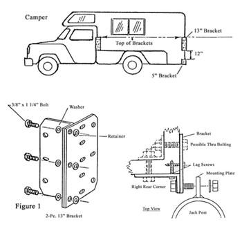 Rieco Titan 55162 Truck Camper Jack Four Corner Bracket Kit - Black