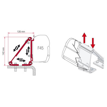 Fiamma 98655-011 F45S Universal Awning Adapter - Single Bracket