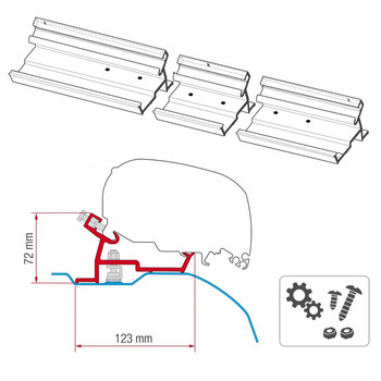 Fiamma® 98655-745 F80S Awning Mounting Bracket - Dodge Promaster (Not Extended)