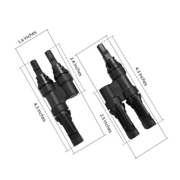 MC4 T Branch Combiner Connectors Male/Female Pair