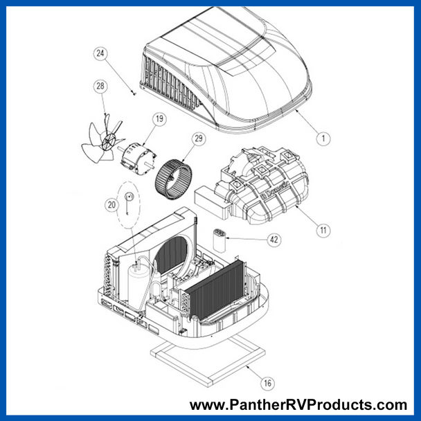 Dometic™ DuoTherm B57915 Brisk Air II Air Conditioner Parts Breakdown