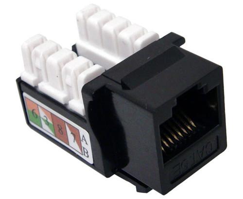 Black Cat5e Keystone Computer Jack