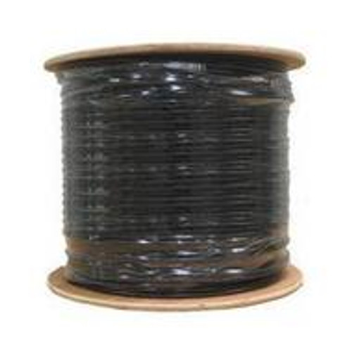 RG6 Coax Cable 1000ft CMR/PVC CATV Direct Burial Quad Shield Black Bulk Cable (Spool)
