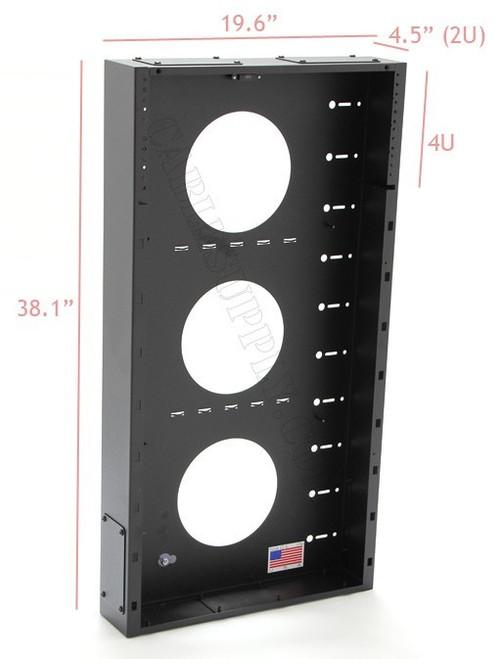 2U + 4U Vertical MiniRaQ Convertible - Tall (Backplate only, no Side Panels) by Black Hawk Labs