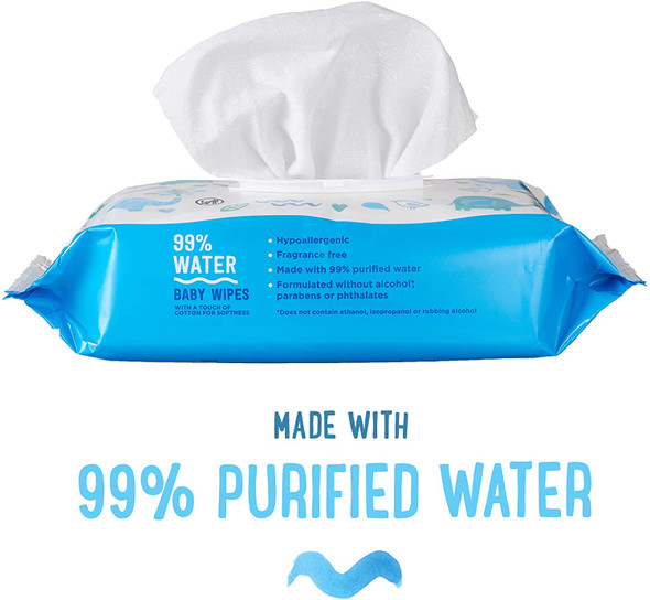 99% Water Baby Wipes, Hypoallergenic, Fragrance Free, 72 Count