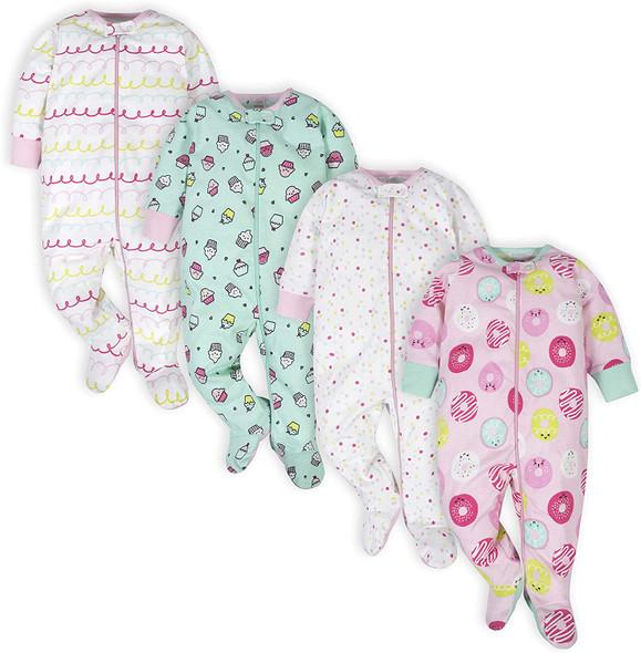 Onesies Brand Baby Girls' 4-Pack Sleep 'N Play Footies Multi Pack