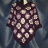 Granny Square Poncho in multiple Purples and White by Mumsie of Stratford.