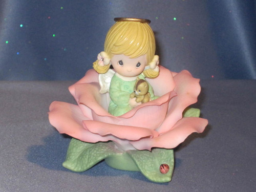 "Precious Moments ""Coral Rose of Desire"" Angel Figurine by Enesco W/Box."