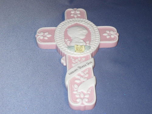 "Precious Moments ""Christening Baby Girl"" Cross by Enesco W/Box."