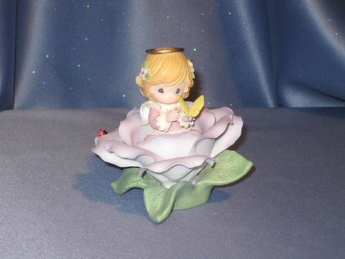 "Precious Moments ""Lilac Rose of Enchantment"" Angel Figurine by Enesco W/Box."