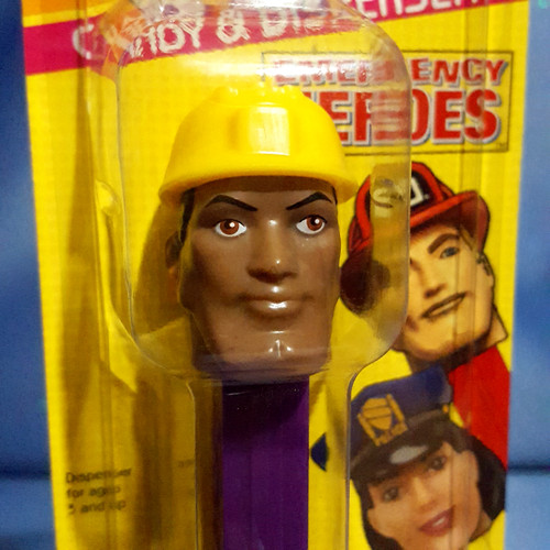 """Emergency Heroes """"Construction Worker"""" Candy Dispenser by PEZ."""