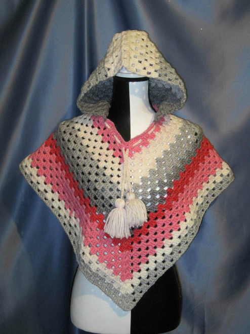 Granny Stitch Poncho with Hood in Pink, Grey and White by Mumsie of Stratford.