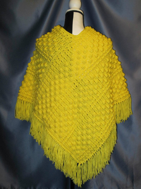 Popcorn Stitch Poncho with Fringe in Sunny Yellow by Mumsie of Stratford.