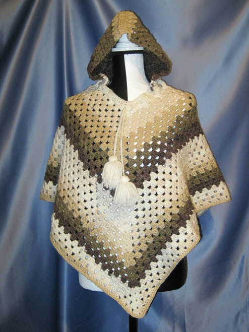 Granny Stitch Poncho with Hood in Neutral Colors by Mumsie of Stratford.