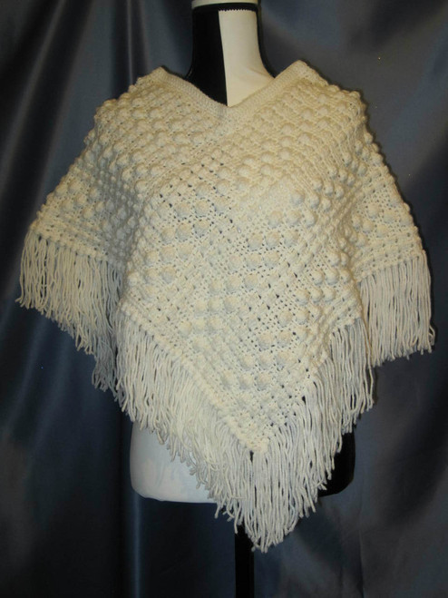 Popcorn Stitch Poncho with Fringe in Soft White by Mumsie of Stratford.