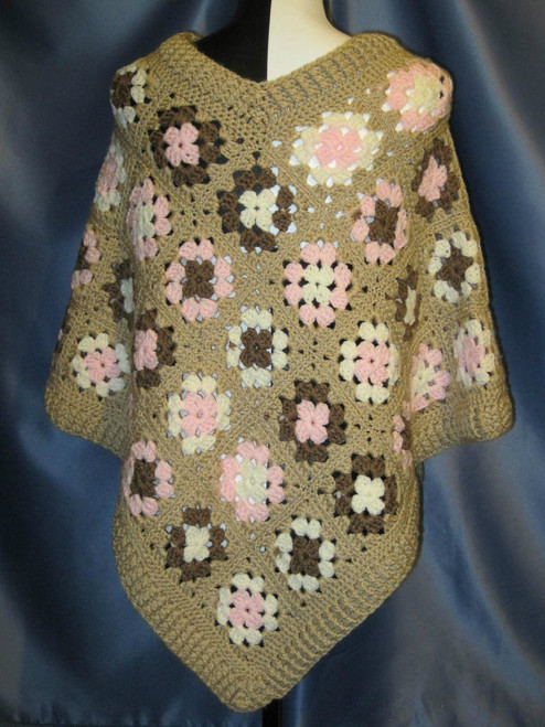 Granny Square Poncho in Neapolitan Colors and a Tan Border by Mumsie of Stratford.