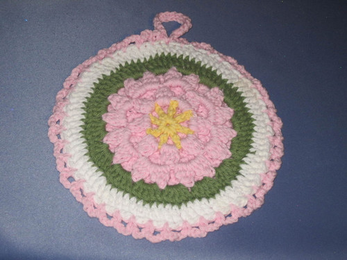 Round Potholder-Trivet Hanging Pink, Yellow and Green by Mumsie of Stratford.