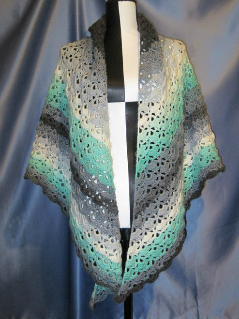 Cloister Shell Designed Shawl in Greens and Greys by Mumsie of Stratford.