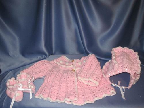 Sweater with Bonnet and Booties in Pink (Baby) by Mumsie of Stratford.