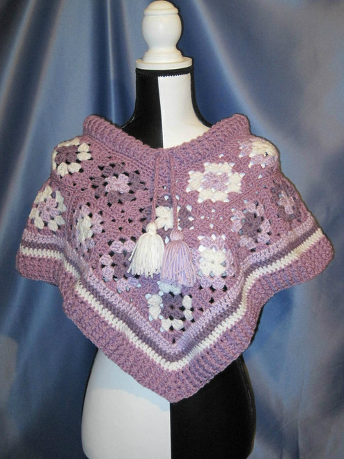 Granny Square Poncho in Lavender (Toddler) by Mumsie of Stratford.