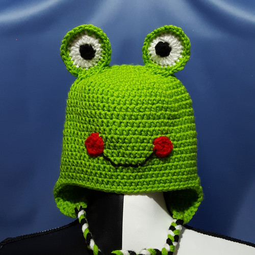 Smiling Frog Character Hat by Mumsie of Stratford.