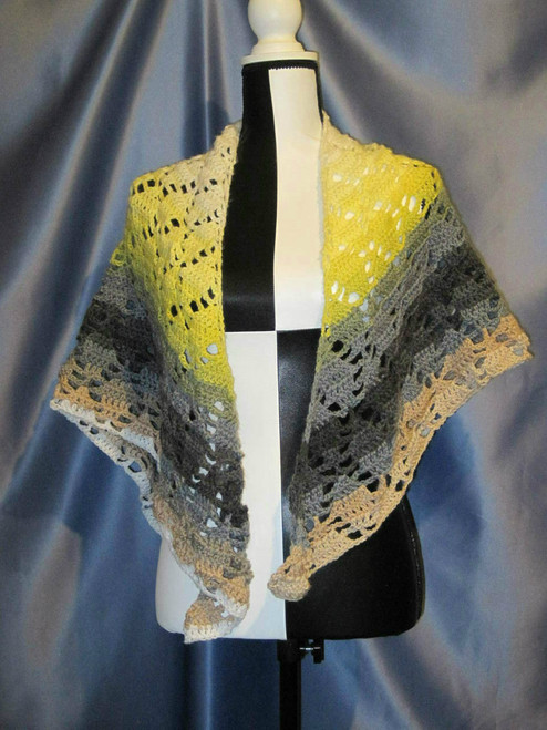 Arbor Designed Shawl in Yellows and Greys by Mumsie of Stratford.