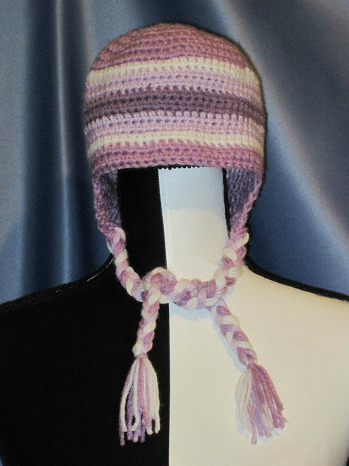Striped Hat with Braided Tie Strings in Light Purples by Mumsie of Stratford.